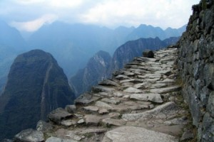 Rocky path,stunning views of the Andes at the end of the Inca Trail trek.  An essential part of every vacation to Peru.